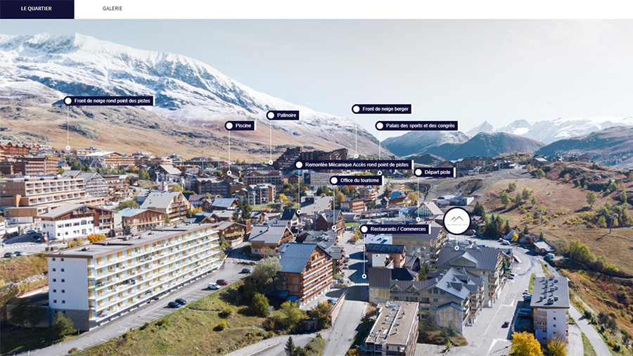 Vue en photolocalisation 360 station de ski immobilier neuf