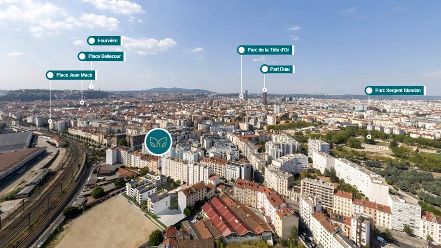 Photolocalisation 360 vue aérienne programme lyonnais environnement