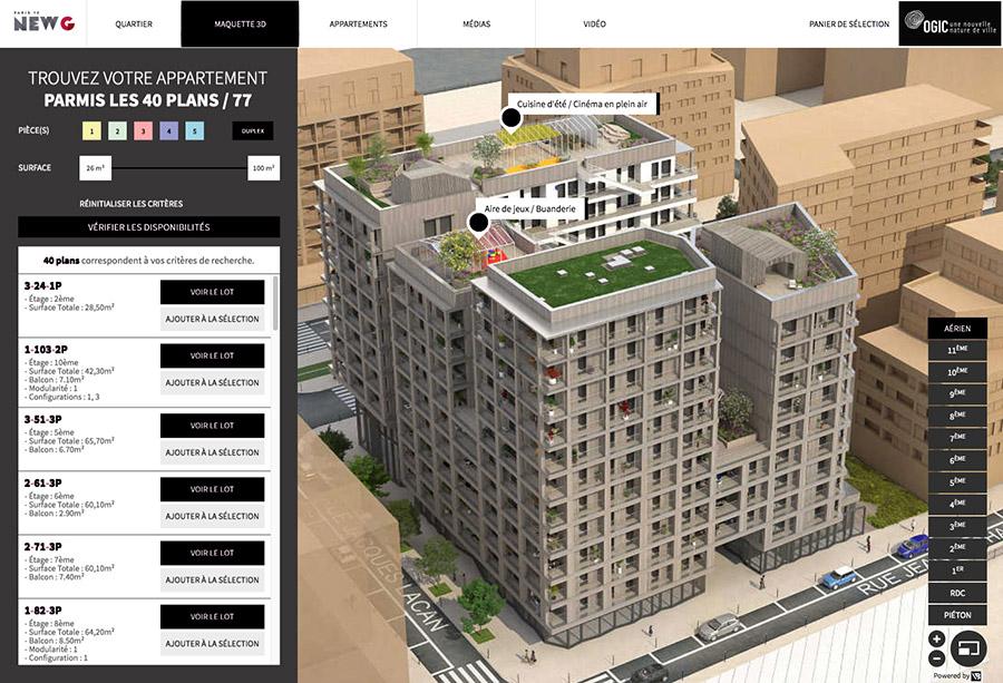 Interface maquette 3D immeuble