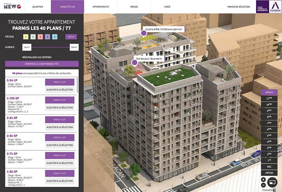 Interface maquette promotion immobilier 3D