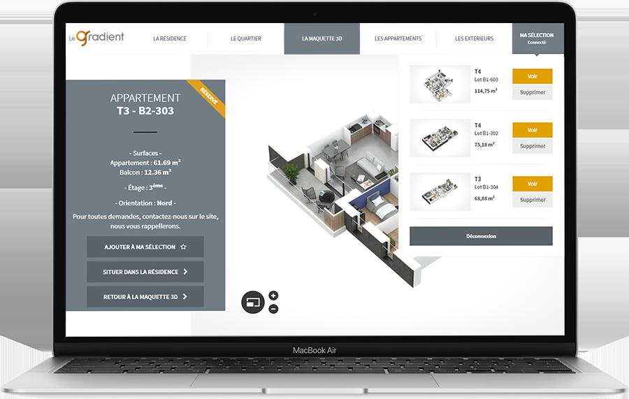 Maquette 3D logement et moteur de recherche