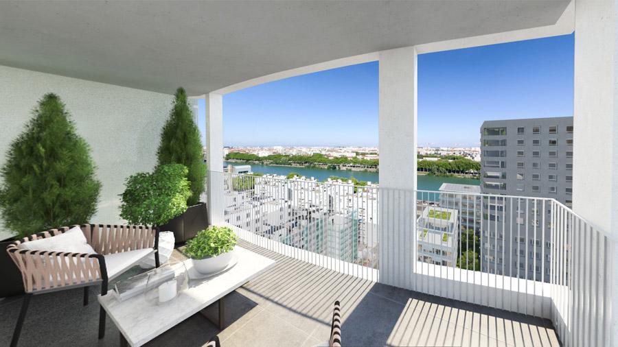 altimétrie vue balcon immobilier neuf